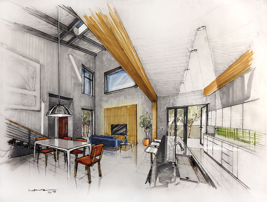 2pt Perspective Grid, Interior Perspective, Interior Rendering